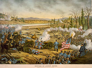 General Rosecrans (left) rallies his troops at Stones River.  Illustration by Kurz and Allison (1891).
